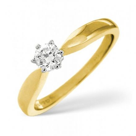 18K Gold 0.50ct Diamond Solitaire Ring, SR03-50PKY